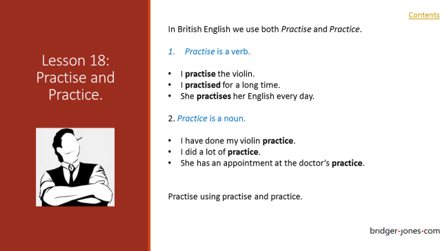 Practical English Usage Lesson 18 practise and practice