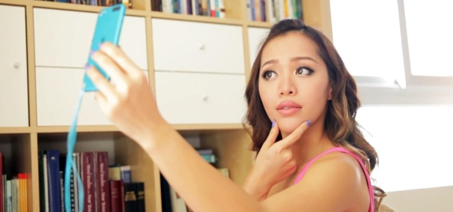 A girl takes a selfie