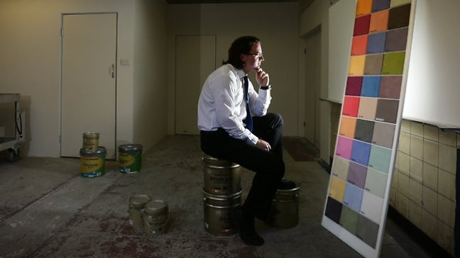 A man watches paint dry