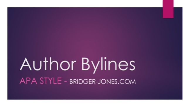 Writing the author bylines in APA style
