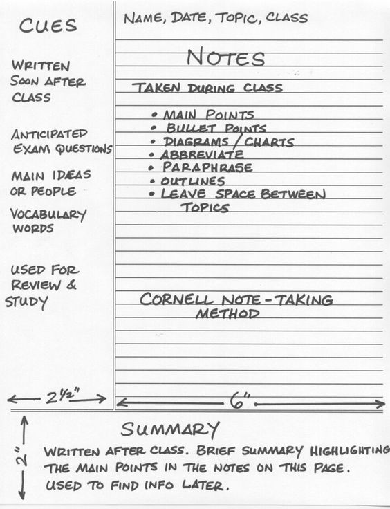 Example cornell notes