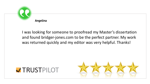 bridger-jones editing and proofreading review Angelina